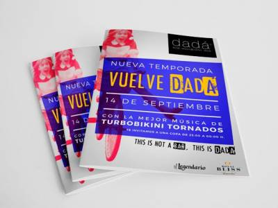 Diseño gráfico de flyers para Dadá Bar de Copas